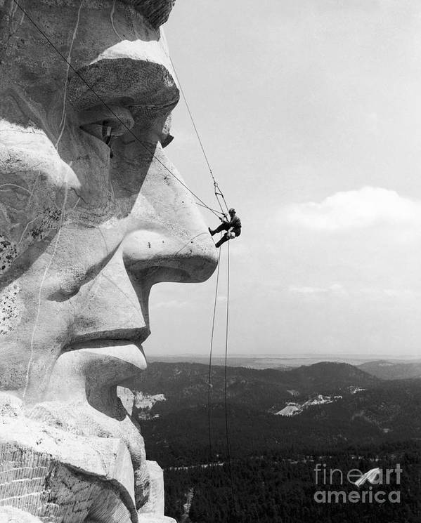 1937 Poster featuring the photograph Scaling Mount Rushmore by Granger