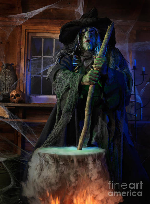 Witch Poster featuring the photograph Scary Old Witch With A Cauldron by Oleksiy Maksymenko