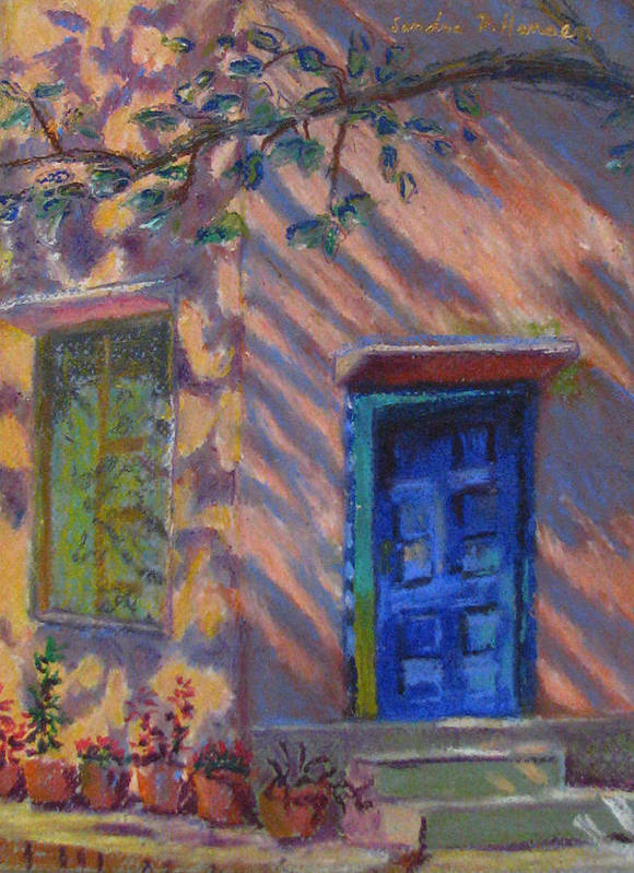 Landscape Poster featuring the painting School Room Door Varanasi India by Art Nomad Sandra Hansen