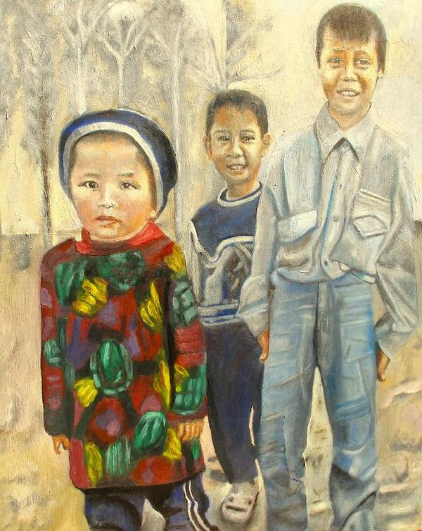 Children Poster featuring the painting School Yard by Keith Bagg
