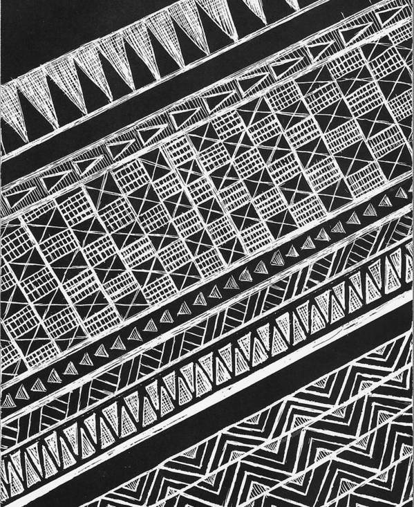 Scratchboard Poster featuring the painting Scratch Kapa 3 by Cynthia Conklin