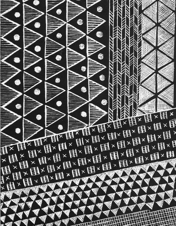 Black And White Poster featuring the painting Scratchboard Kapa Pattern 1 by Cynthia Conklin