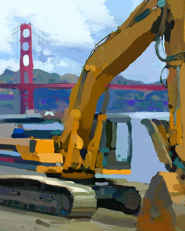 Bulldozers Poster featuring the painting Scratcher by Brad Burns