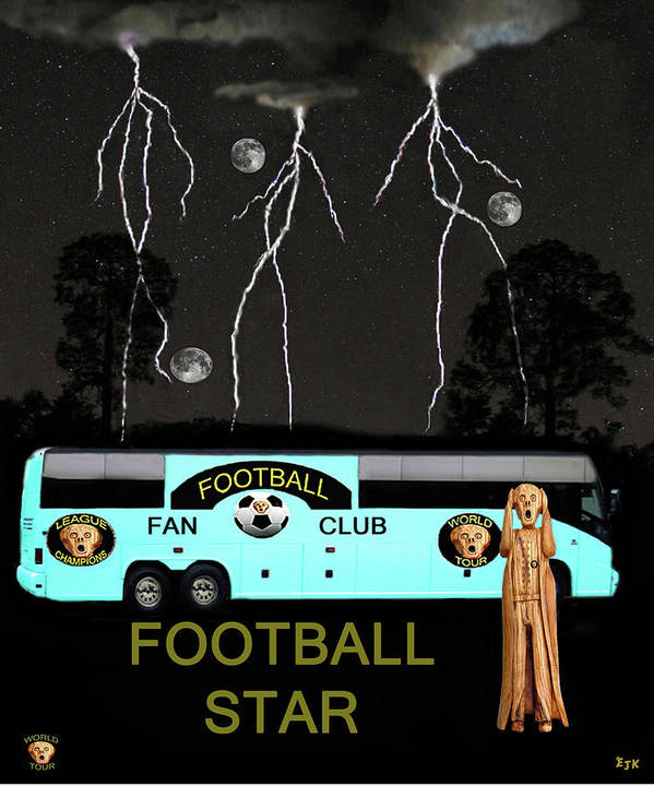 Scream Football Star Poster featuring the mixed media Scream Football Star by Eric Kempson