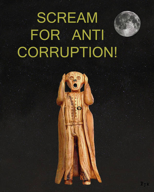 Scream For Anti Corruption Poster featuring the mixed media Scream For Anti Corruption by Eric Kempson