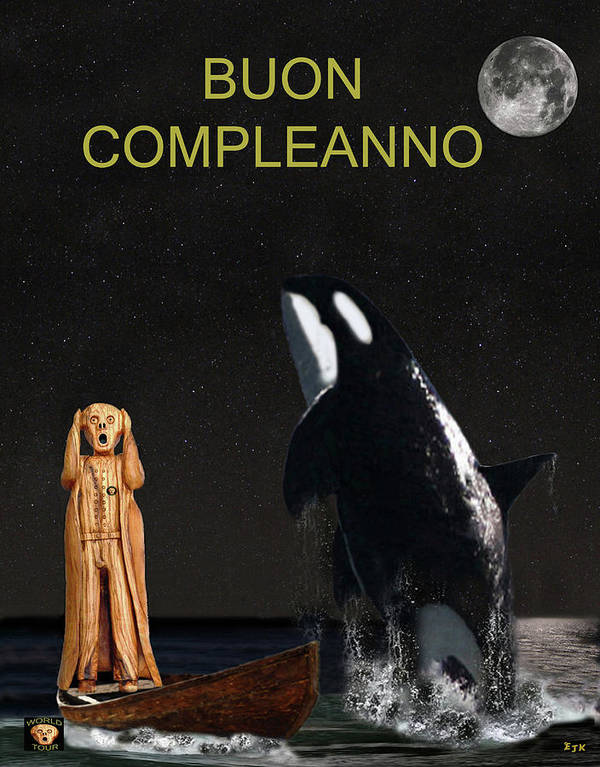 Scream With Orca Poster featuring the mixed media Scream With Orca Italian by Eric Kempson