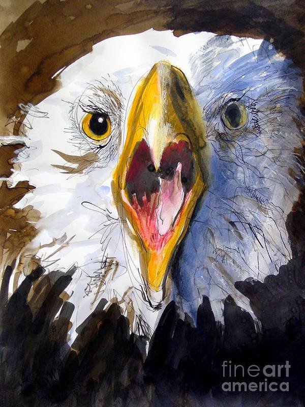 Wildlife Poster featuring the painting Screaming Eagle 2004 by Paul Miller