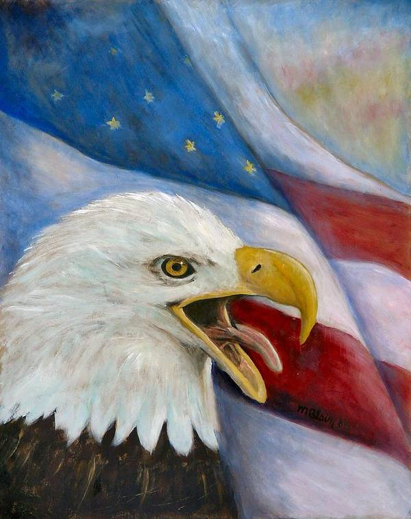 Birds Poster featuring the painting Screaming Eagle by Merle Blair