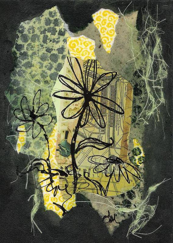 Black Poster featuring the mixed media Scribble me a bouquet by Tara Milliken