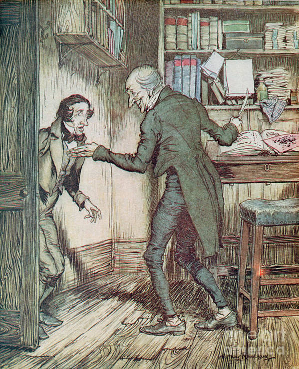 Arthur Rackham Poster featuring the drawing Scrooge And Bob Cratchit by Arthur Rackham