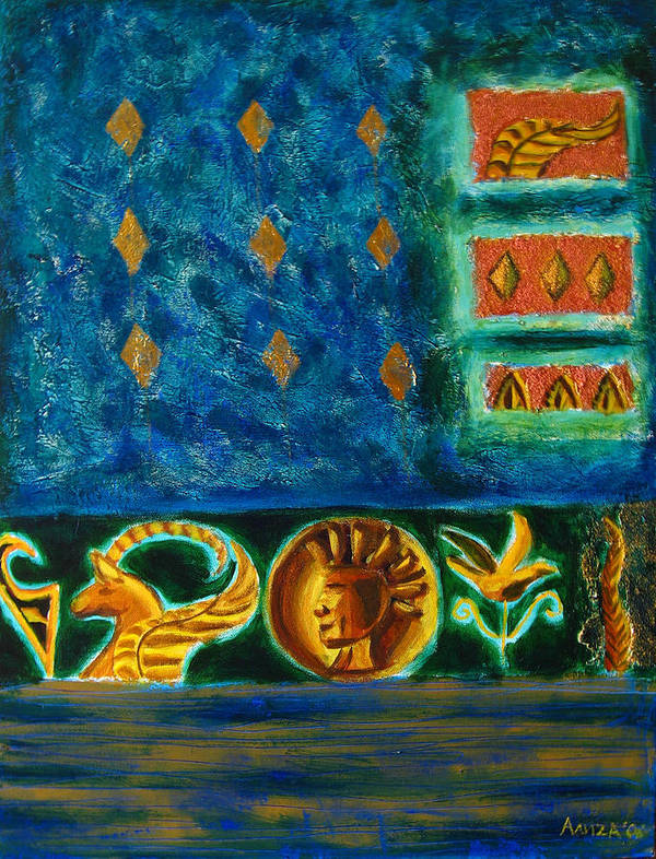 Abstract Poster featuring the painting Scythian Gold by Aliza Souleyeva-Alexander