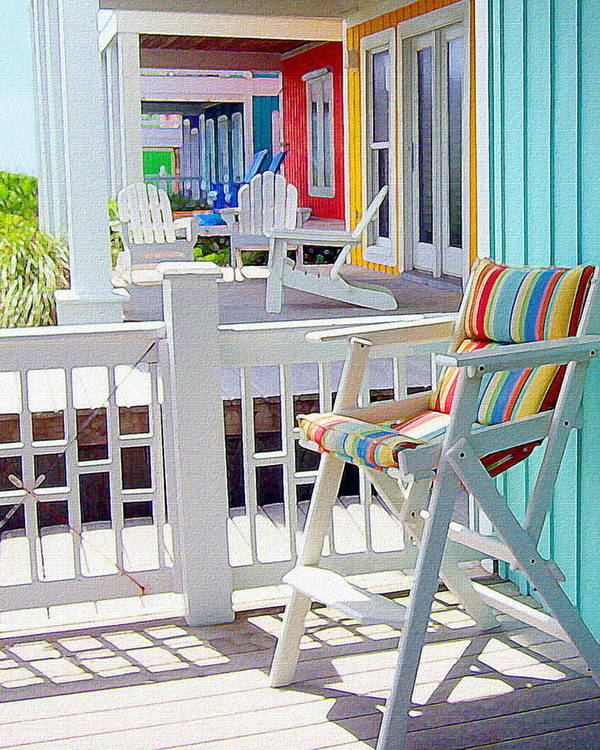 Beach Poster featuring the painting Sea Dreams Beach Chairs by Paul Little