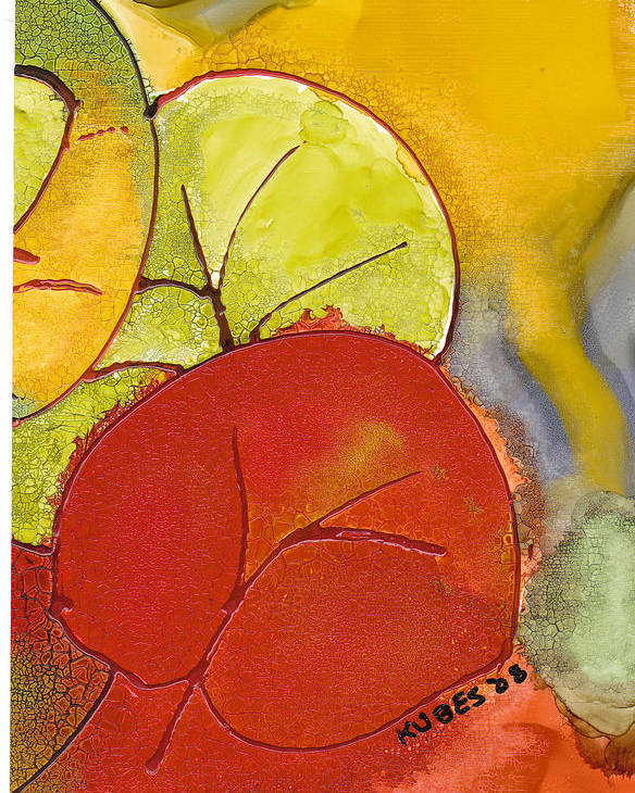 Leaf Poster featuring the painting Sea Grapes by Susan Kubes