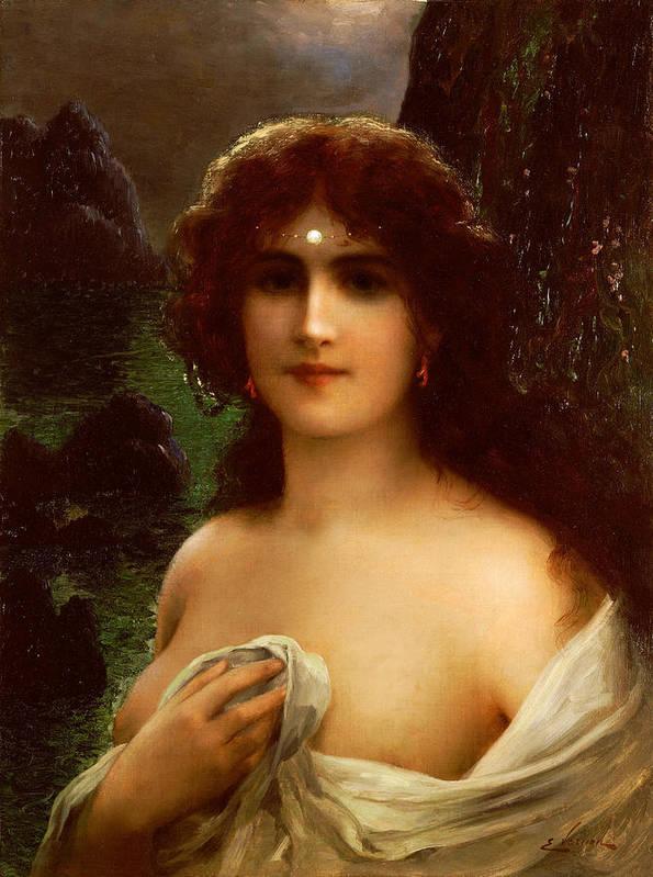 Sea Nymph (oil On Canvas) By Emile Vernon (1872-1919) Female; Nude; Sea; Nympth; Half Length; Pearl; Coast; Coastal; Landscape; Night; Nocturne; Bosom Poster featuring the painting Sea Nymph by Emile Vernon