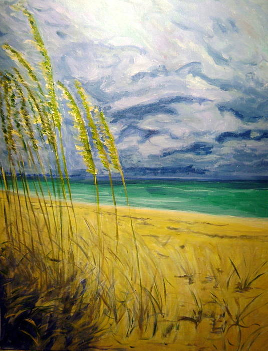 Seascape Poster featuring the painting Sea Oats by Patrick Harris