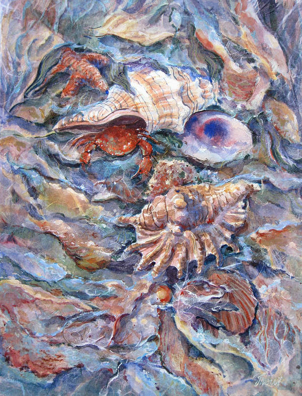 Multiple Seashells Poster featuring the painting Sea Treasures by Don Trout