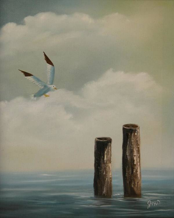 Seascape Poster featuring the painting Seagull Landing by Joni McPherson