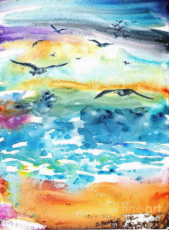 Cynthia Pride Watercolor Paintings Poster featuring the painting Seagull Seas by Cynthia Pride