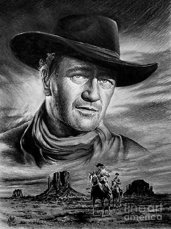 John Wayne Poster featuring the painting Searching by Andrew Read