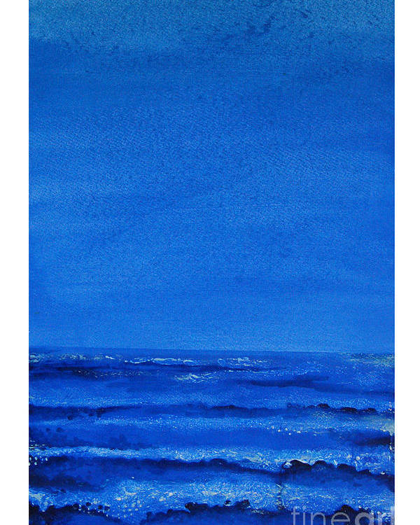 Abstract Poster featuring the painting Seascape-0 by Padmakar Kappagantula