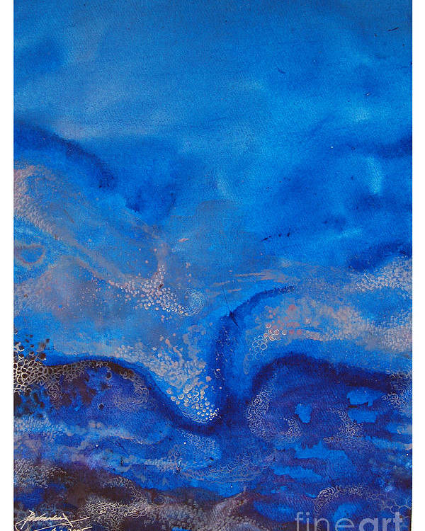 Abstract Poster featuring the painting Seascape-1 by Padmakar Kappagantula