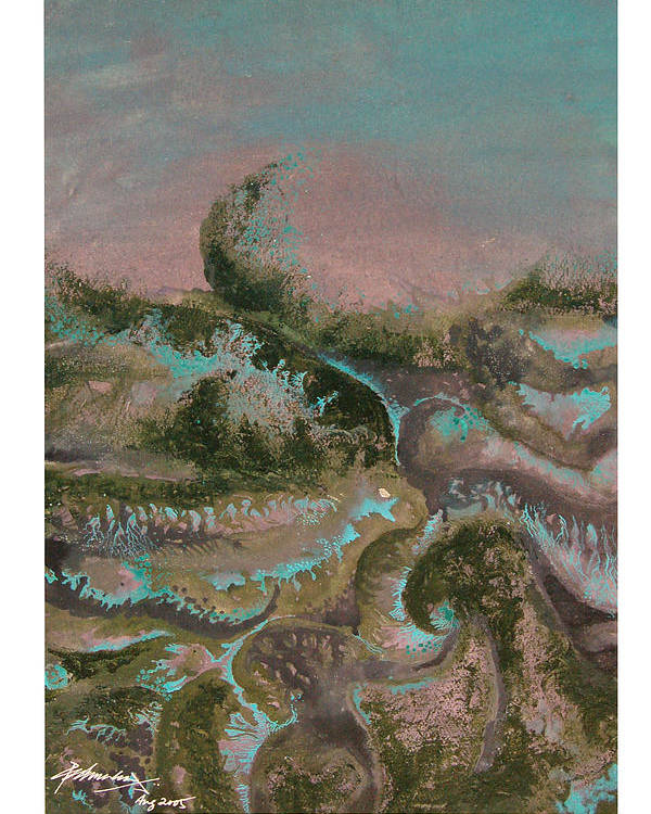 Abstract Poster featuring the painting Seascape-2 by Padmakar Kappagantula