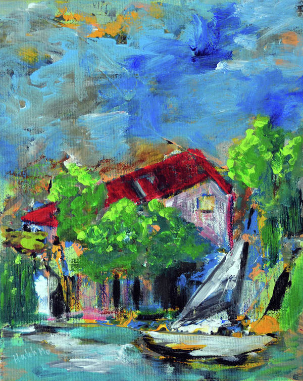 Halehlandscape Poster featuring the painting SeaSideHouse by Haleh Mahbod
