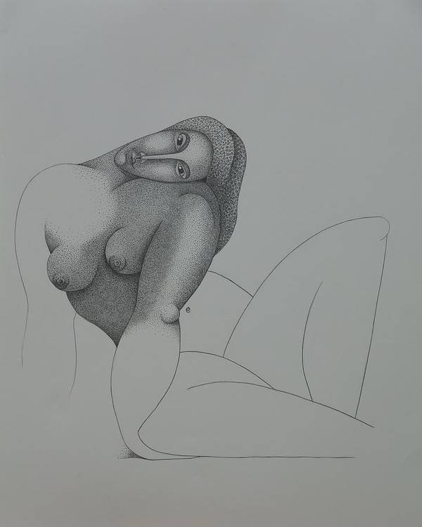 Sacha Circulism Poster featuring the drawing Seated Nude 2008 by S A C H A - Circulism Technique