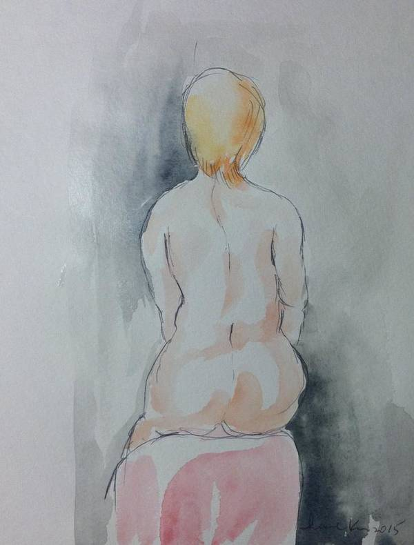 Poster featuring the painting Seated Nude by Hae Kim