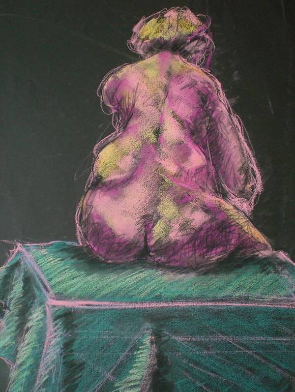 Seated Nude Poster featuring the painting Seated Pink Nude by Aleksandra Buha