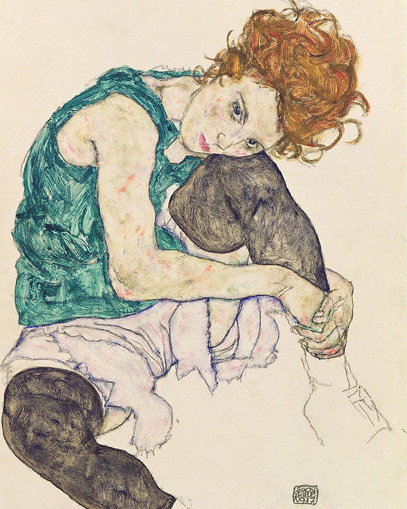 Egon Schiele Poster featuring the painting Seated Woman with Bent Knee by Egon Schiele