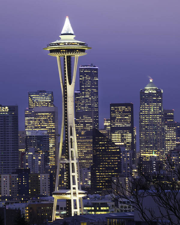 Seattle Poster featuring the photograph Seattle Space Needle 0200 by Bob Neiman
