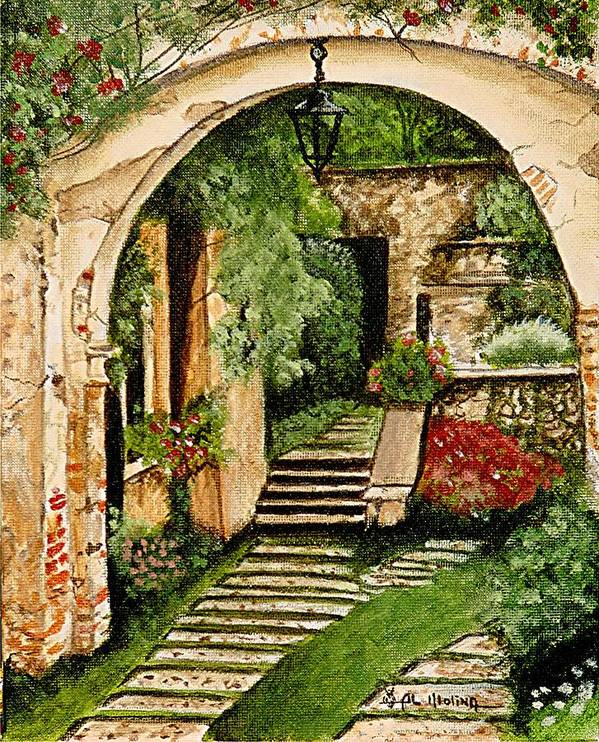Tuscan Poster featuring the painting Secret Garden by Al Molina