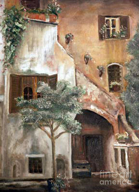 Building Poster featuring the painting Secret Garden by CJ Rider
