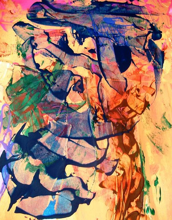 Abstract Poster featuring the painting Secret Pentagon Project by Bruce Combs - REACH BEYOND