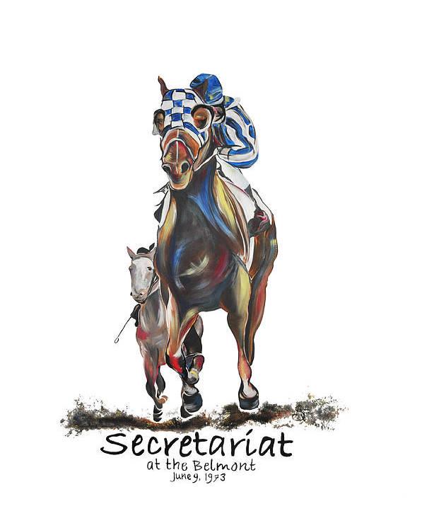 Secretariat Poster featuring the painting Secretariat At The Belmont Mural by Amanda Sanford