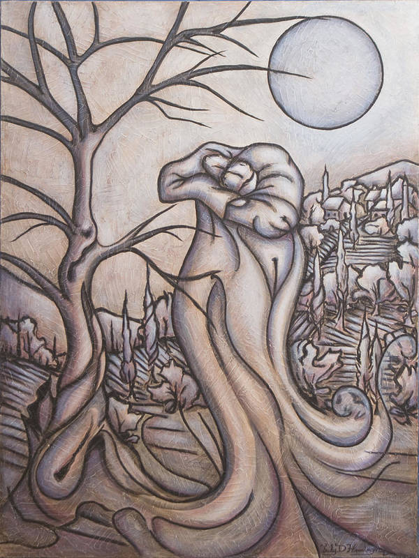 Dream. Moon Poster featuring the painting Secrets And Dreams by Judy Henninger