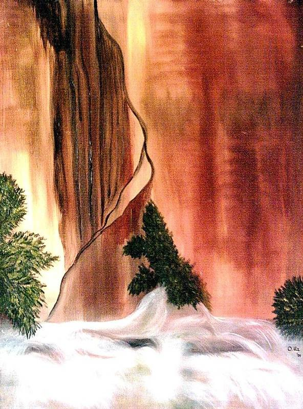 Waterfall Poster featuring the painting Sedona's Waterfall by Ofelia Uz