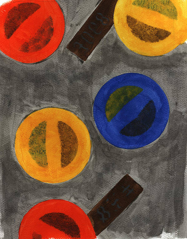 Abstract Poster featuring the painting Segments 1 by David Townsend