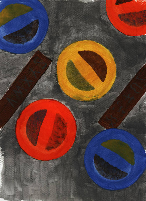 Abstract Poster featuring the painting Segments 3 by David Townsend