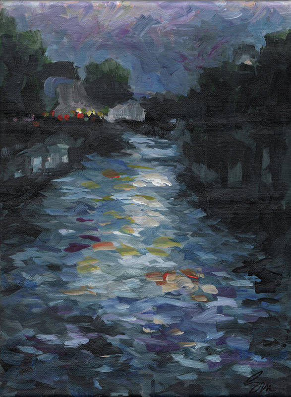 Landscape Poster featuring the painting Seine by Susan Moore