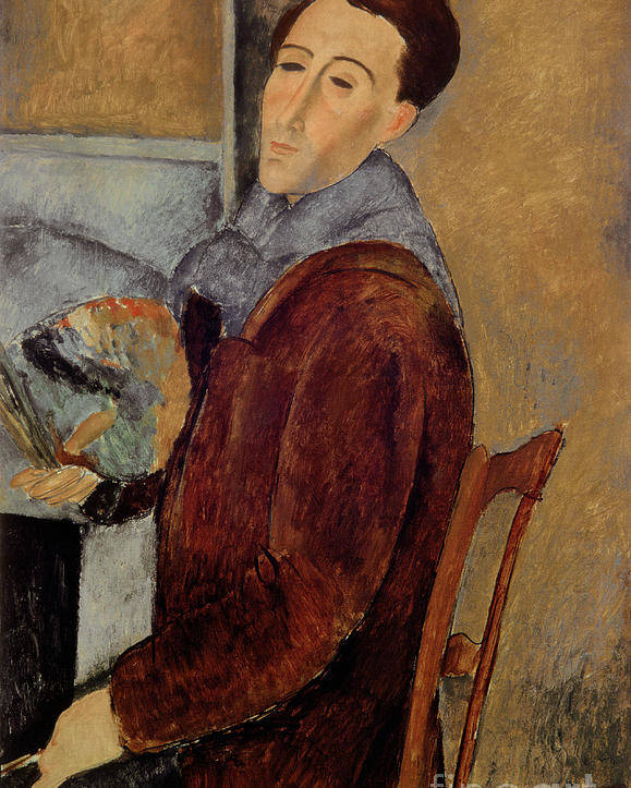 Self Poster featuring the painting Self Portrait by Amedeo Modigliani