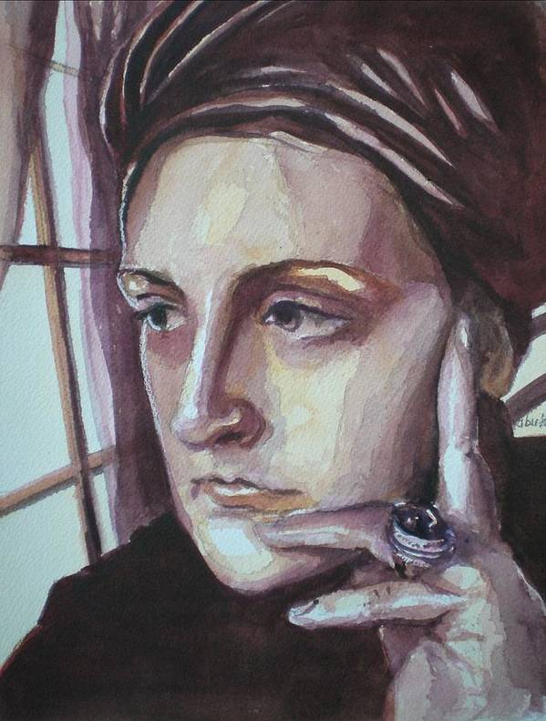 Self-portrait Poster featuring the painting Self-portrait At 30 by Aleksandra Buha