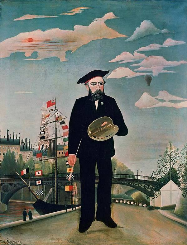 Self Poster featuring the painting Self Portrait From Lile Saint Louis by Henri Rousseau