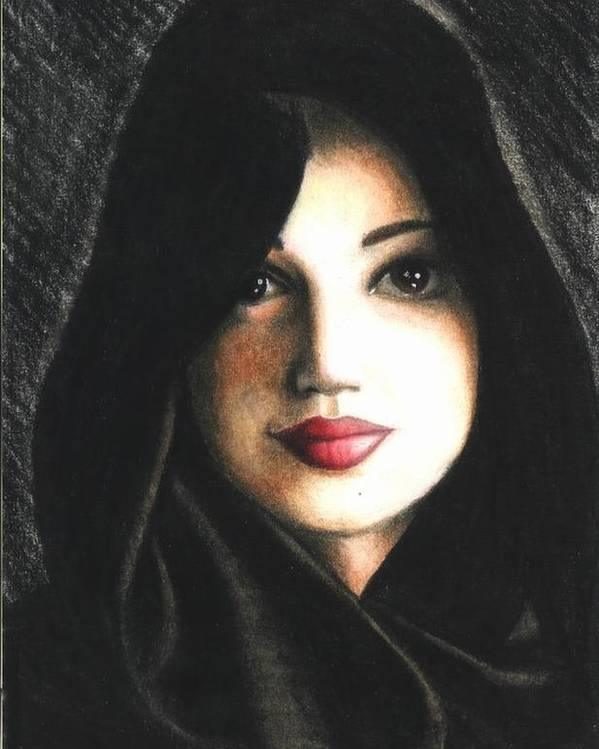 Portrait Poster featuring the drawing Self Portrait in Cape by Scarlett Royal