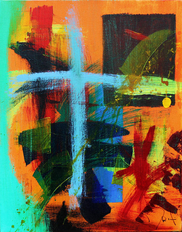 Contemporary Abstract Poster featuring the painting Self Portrait by John Wesley