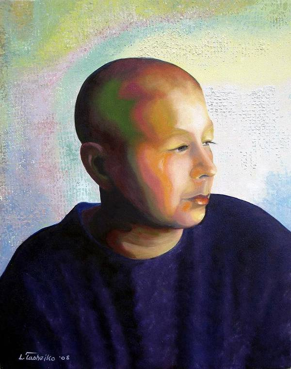 Breast Cancer Poster featuring the painting Self Portrait Mid-treatment by Laura Tasheiko