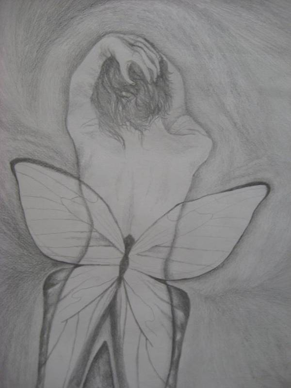 Fairy Poster featuring the drawing Self Portrait by Theodora Dimitrijevic