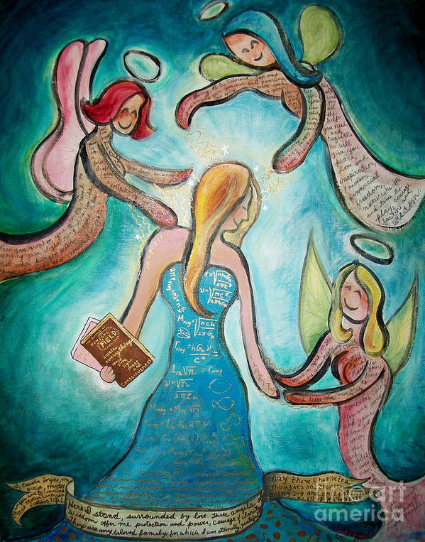 Angels Poster featuring the painting Self Portrait With Three Spirit Guides by Carola Joyce