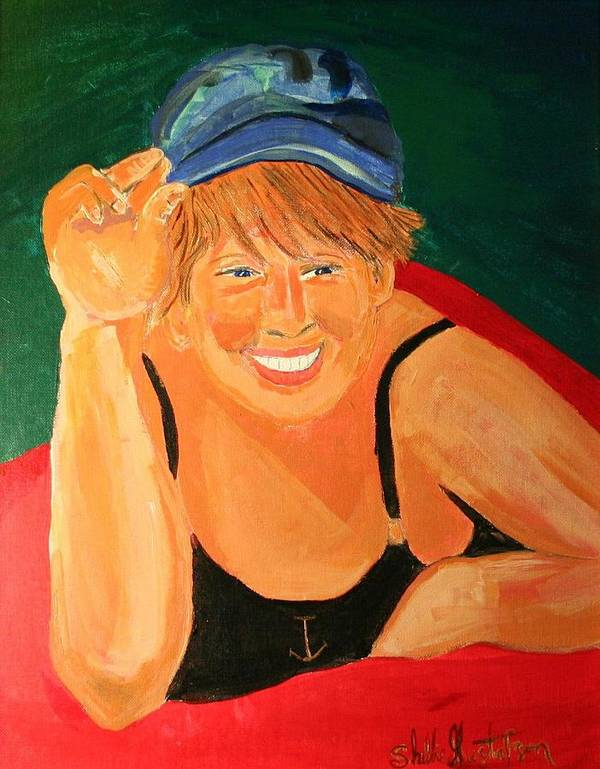 Art Artist Self Shellie Gustafson Cap Bathing Suit Tip Tipping Anchor Poster featuring the painting Self Potrait Of Artist Shellie Gustafson by Shellie Gustafson